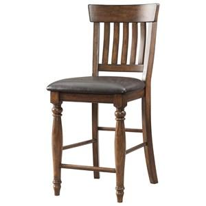 Slat Back Bar Stool with Upholstered Seat