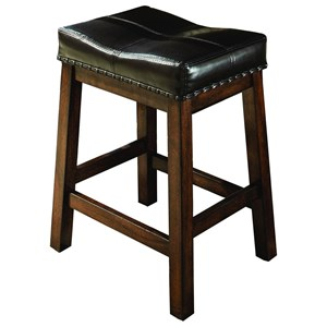 Backless Counter Stool with Nailhead Trim