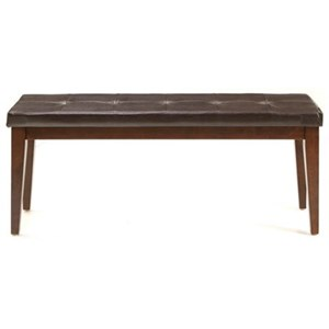 Transitional Backless Dining Bench with Upholstered Seat