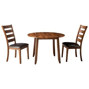 3 Piece Drop Leaf Dining Table and Ladder Back Side Chair Dining Set