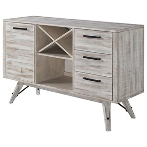 Contemporary 3 Drawer Server with Wine Bottle Storage