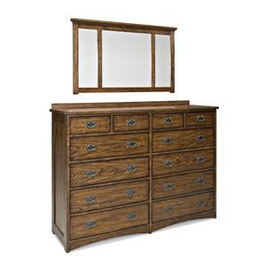 Mission Twelve Drawer Dresser and Landscape Mirror Set