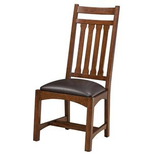 Dining Side Chair with Slat Back and Upholstered Seat