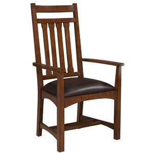 Dining Arm Chair with Slat Back and Upholstered Seat