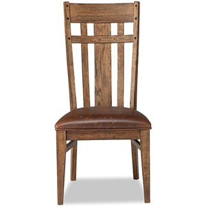 Lattice Back Dining Side Chair with Upholstered Seat