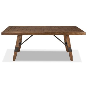 Rectangular Trestle Dining Table with Self Storing Leaf