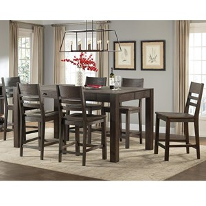 7 Piece Parsons Style Gathering Height Table and Bar Stool Set