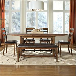 6-Piece Dining Table, Ladder Back Chair, and Bench Set