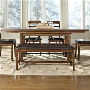Trestle Dining Table with Self-Storing Leaf