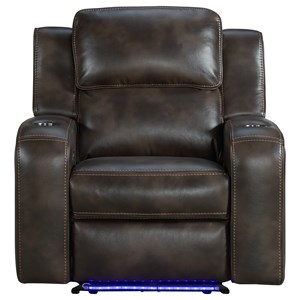 Contemporary Power Recliner with Power Headrest, USB Ports, and Floor Lighting