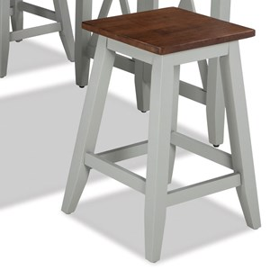 "Two-Tone 24"" Counter Height Backless Barstool"