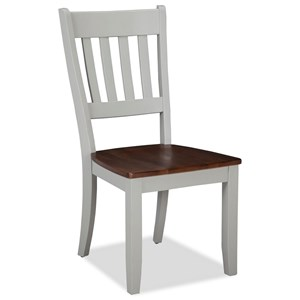 Two-Tone Slat Back Dining Side Chair