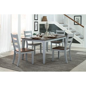 5 Piece Table and Ladder Back Chair Set