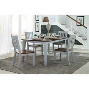 5 Piece Table and Slat Back Chair Set
