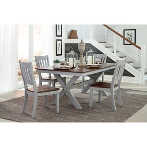 5 Piece Trestle Table and Slat Back Chair Set