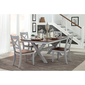 5 Piece Trestle Table and X-Back Chair Set
