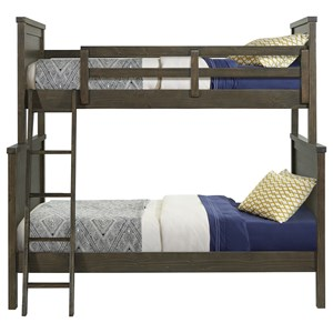 Casual Twin Over Full Bunk Bed with Ladder