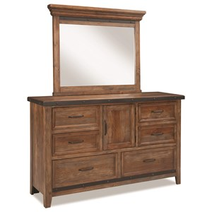 Rustic Mirror and Dresser with Cedar-Lined Bottom Drawers