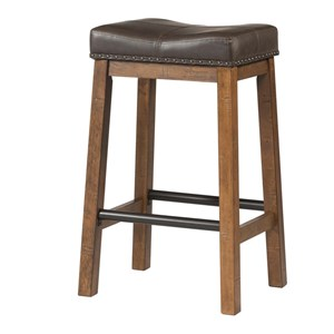 "Rustic 30"" Upholstered Bar Stool with Metal Accents"