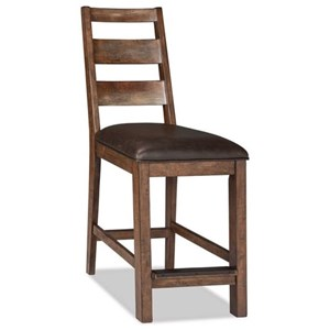 Rustic Upholstered Bar Stool with Ladder Back