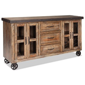Rustic Sideboard with Flip-Up Front Media Drawer