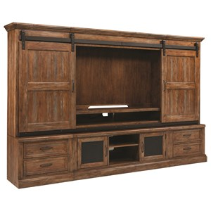 Rustic Entertainment Center Wall Unit with Sliding Barn Doors