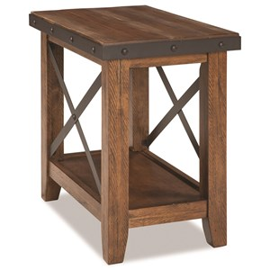 Rustic Chairside Table with Metal Accents