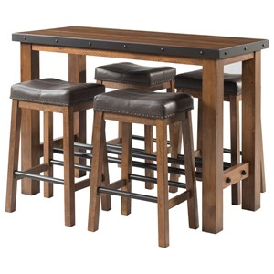 5 Piece Rectangular Pub Table and Chair Set