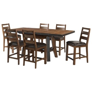 7 Piece Rectangular Gathering Table and Chair Set with Self-Storing Leaf
