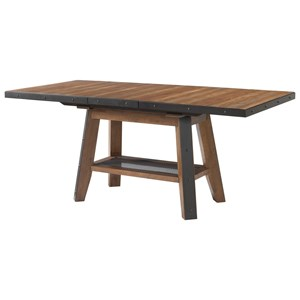 Rustic Rectangular Gathering Table with Self-Storing Leaf