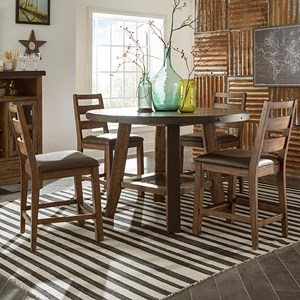 5 Piece Rustic Round Counter Table Set