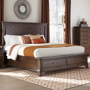 Transitional King Bed with Footboard Storage