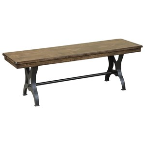 "54"" Backless Wood and Metal Industrial Dining Bench"