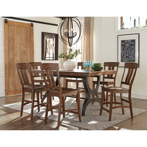 7 Piece Gathering Table & Bar Stool Set with Leaf