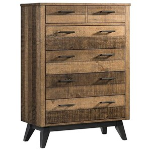 Rustic 6 Drawer Chest with Metal Base and Legs