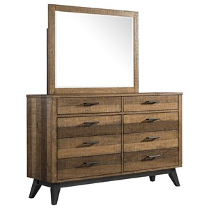 Rustic 8 Drawer Dresser and Mirror