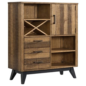Rustic Bar Cabinet with Wine Bottle Storage