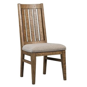 Dining Slat Back Side Chair with Upholstered Seat