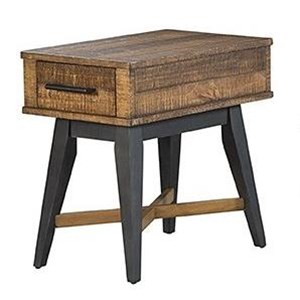 Rustic 1 Drawer Chairside Table with Metal Base and Stretcher
