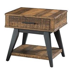 Rustic 1 Drawer End Table with 1 Shelf
