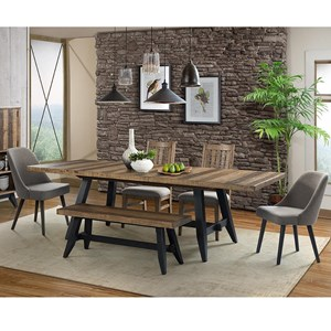 Rustic 6 Piece Trestle Table and Chair Set with Bench