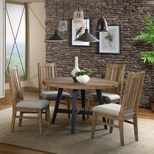 Rustic 5 Piece Round Table and Chair Set