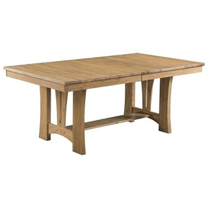 Casual Trestle Table with Self-Storing Leaf