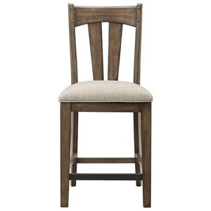 Rustic Upholstered Barstool with Slat Back