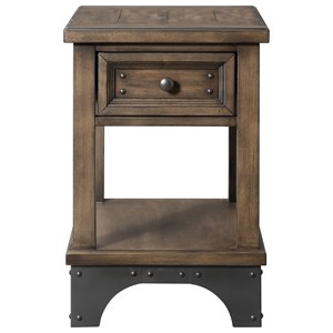Rustic Chairside Table with Drawer and Bottom Shelf