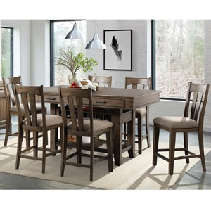 Rustic 7 Piece Counter Height Dining Set with Wine Storage