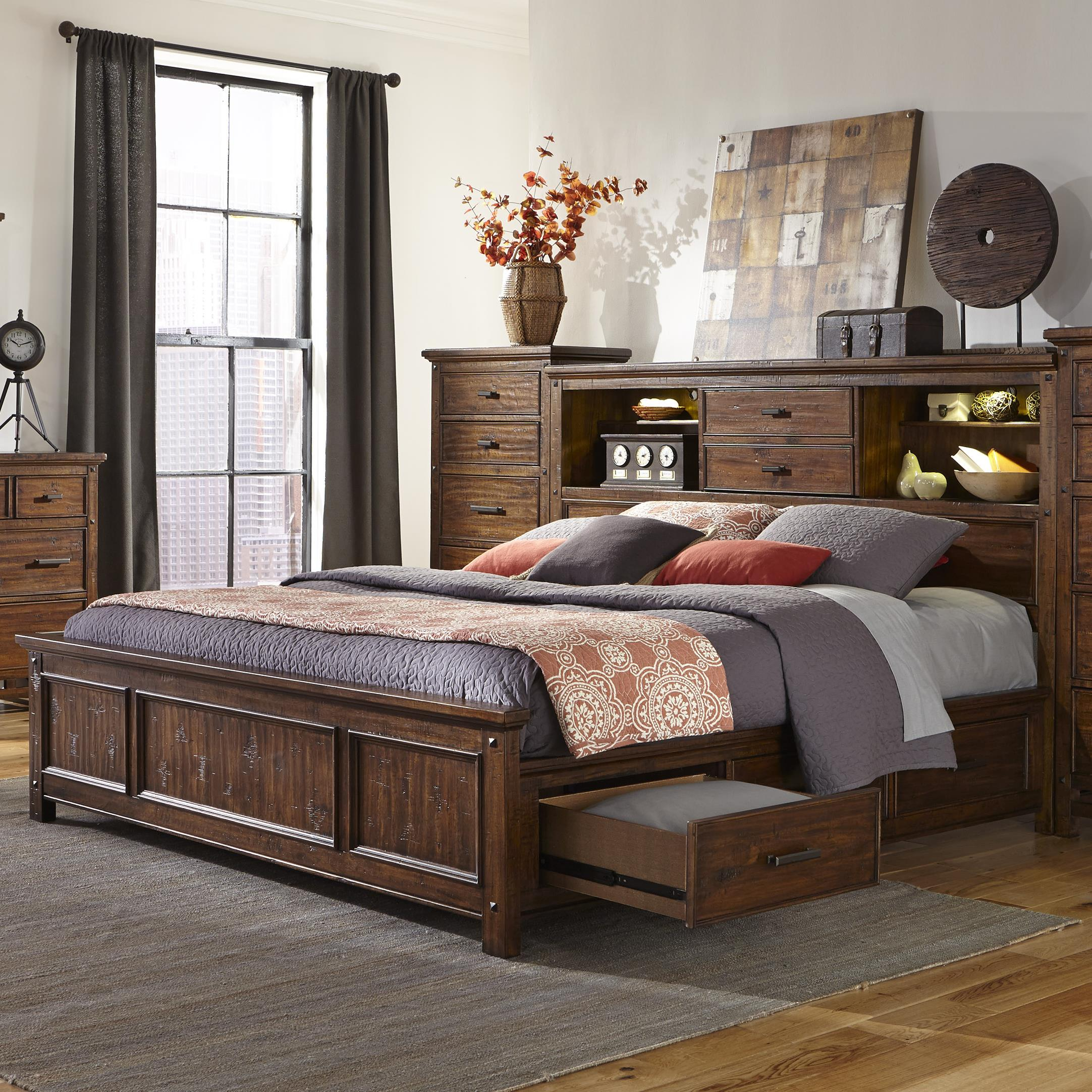 Wolf Creek Queen Bookcase Bed with Storage by Intercon at Wilson's Furniture