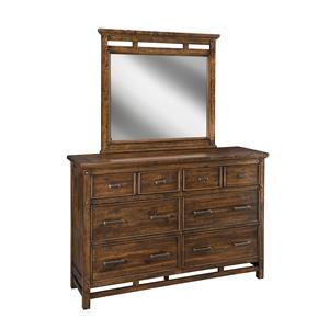 Dresser & Mirror Set with Cut-Out Wood Details