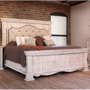 California King Bed with Upholstered Headboard