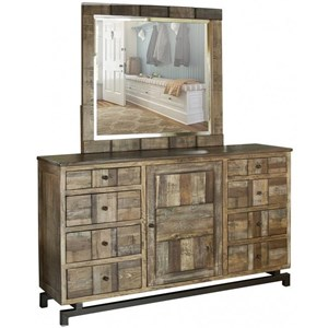Rustic Solid Wood 8 Drawer and 1 Door Dresser and Mirror